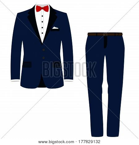 Wedding men's suit tuxedo. Isolated object. Vector illustration.