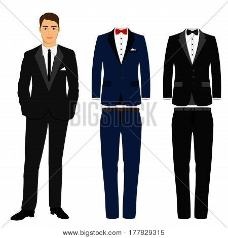 Wedding men's suit and tuxedo. Collection. Set. Vector illustration.