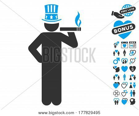 Capitalist pictograph with bonus love graphic icons. Vector illustration style is flat iconic blue and gray symbols on white background.
