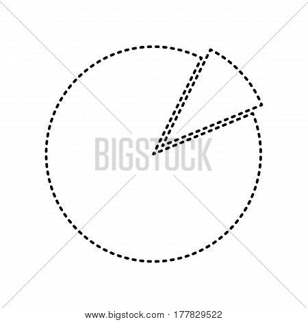 Finance graph sign. Vector. Black dashed icon on white background. Isolated.