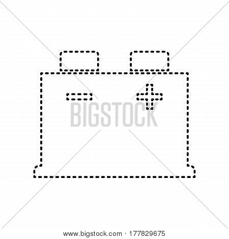 Car battery sign. Vector. Black dashed icon on white background. Isolated.