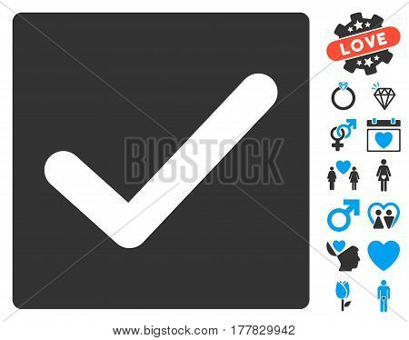 Check icon with bonus amour design elements. Vector illustration style is flat iconic blue and gray symbols on white background.