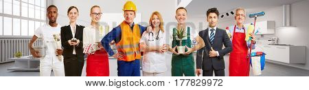 Blue collar worker and business team in front of an apartment loft