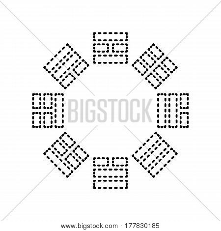 Bagua sign. Vector. Black dashed icon on white background. Isolated.