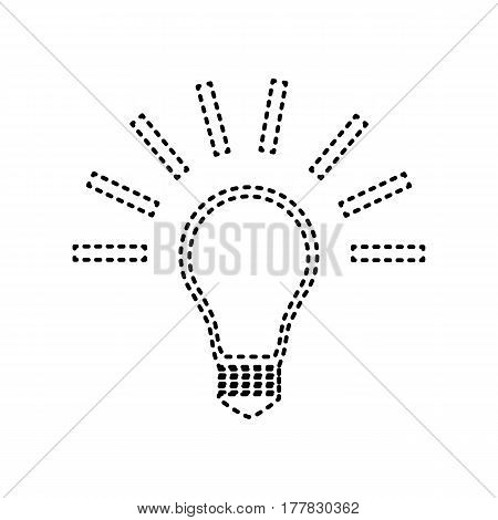 Light lamp sign. Vector. Black dashed icon on white background. Isolated.