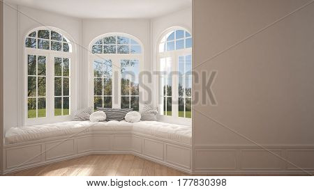Big Window With Garden Meadow Panorama, Minimalist Empty Space, Background Classic Interior Design