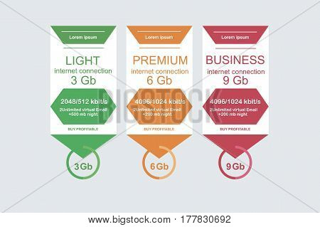 Internet Traffic.set Offer Tariffs. Ui Ux Vector Banner For Web App. Set Pricing Table, Order, Box,