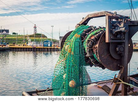 Fishing net on a boat in Prince Edward Island