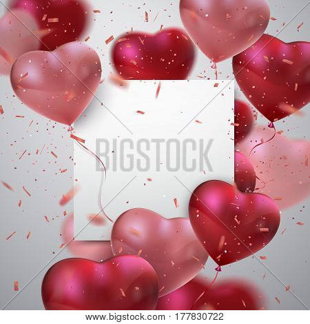 Balloon Hearts. Vector holiday illustration of red and pink balloon hearts, confetti, paper banner. Happy Valentines Day. Festive wedding decoration. Invitation or congratulation design template.