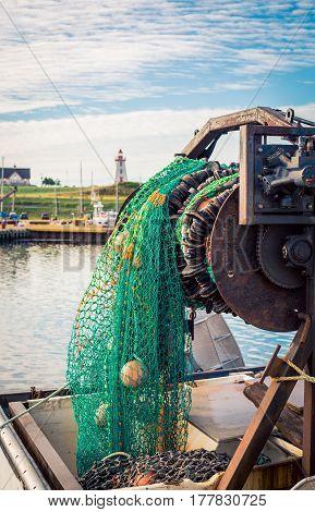 Fishing net on a boat in Prince Edward Island