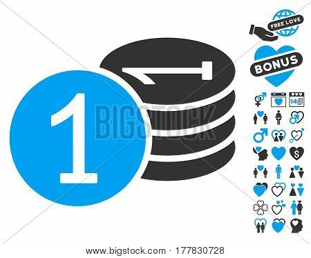 Coins icon with bonus marriage clip art. Vector illustration style is flat iconic blue and gray symbols on white background.