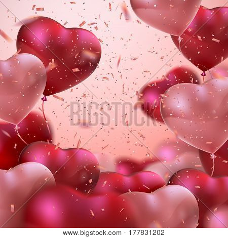 Balloon Hearts. Vector holiday illustration of bunch of red and pink balloon hearts and glittering confetti. Happy Valentines Day. Festive romantic decoration. Wedding concept