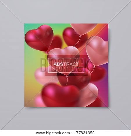 Balloon Hearts. Vector holiday illustration of bunch of red and pink balloon hearts. Happy Valentines Day. Festive decoration. Wedding invitation concept. Banner, flyer, card or poster template design