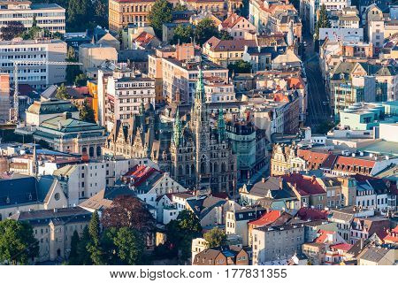 Aerial view of the center of Liberec. Czech Republic