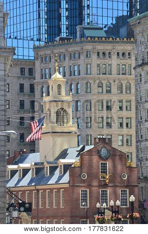 The Old State House in the City of Boston Massachusetts.