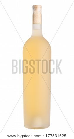 front view of white wine in acid etched bottle without label and cork visible isolated on white