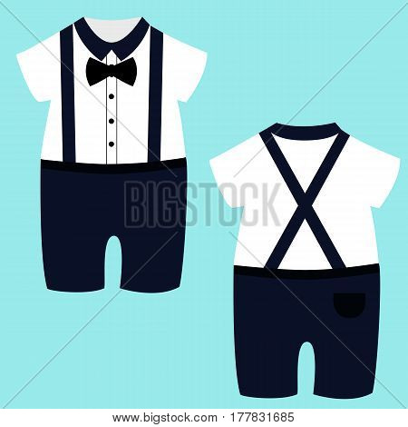 Romper suit. Children's tuxedo. For boys. Vector illustration.