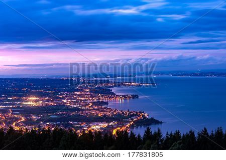 City Rorschach at Lake Constance in Switzerland at sunset