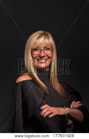 Successful Middle aged woman with Glasses Portrait - vertical