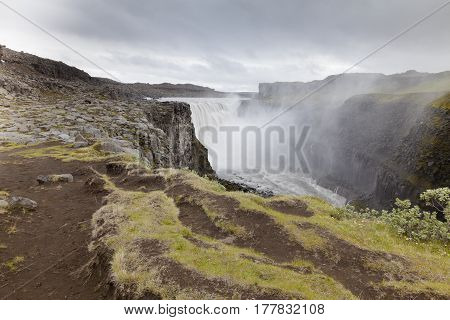 Dettifoss waterfall center of Iceland in summer