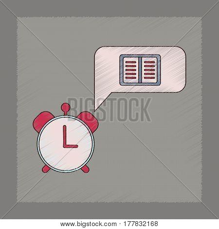 flat shading style icon of book alarm clock