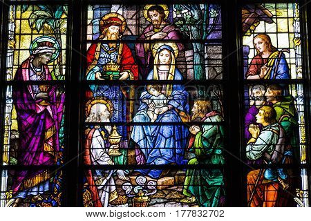 Indianapolis - Circa March 2017: St. Mary Catholic Church Stained Glass Window Depicting Jesus and Mary II