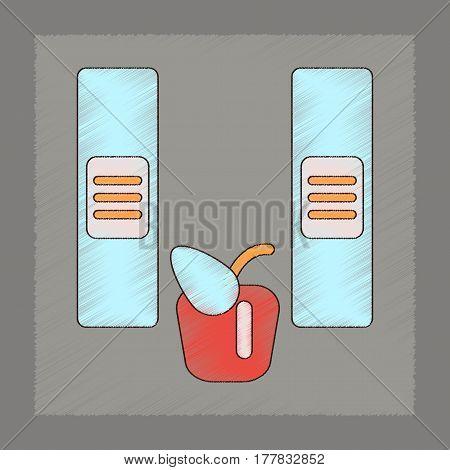 flat shading style icon of folders apple