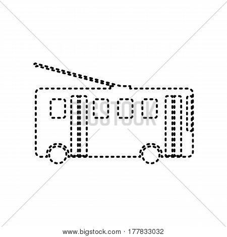 Trolleybus sign. Vector. Black dashed icon on white background. Isolated.
