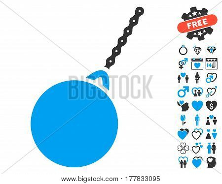 Destruction Hammer pictograph with bonus valentine images. Vector illustration style is flat iconic blue and gray symbols on white background.