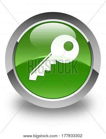 Key Icon Glossy Soft Green Round Button