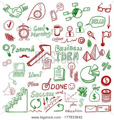 Big set od business doodles, red and green hand drawn icons on white background.