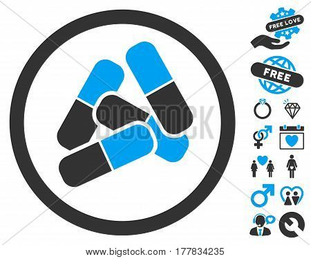Drugs icon with bonus romantic design elements. Vector illustration style is flat iconic blue and gray symbols on white background.