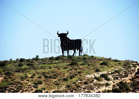 Black silhouette statue of a bull on a hillside Torre del Mar Malaga Province Andalusia Spain Western Europe.