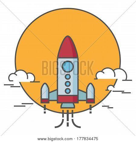 Flat design of rocket launch. Business Start Up Concept