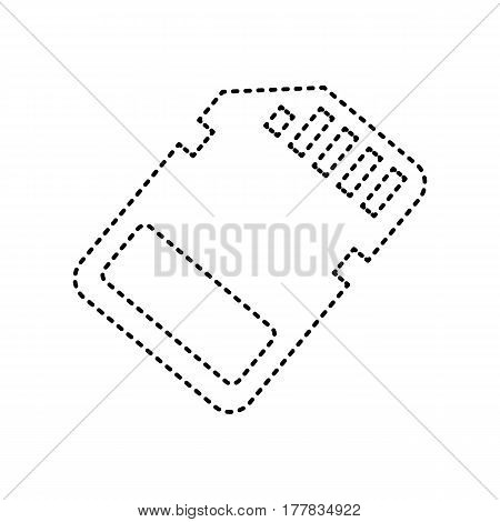 Memory card sign. Vector. Black dashed icon on white background. Isolated.