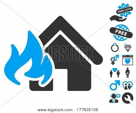Fire Damage pictograph with bonus valentine symbols. Vector illustration style is flat iconic blue and gray symbols on white background.