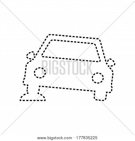 Car parking sign. Vector. Black dashed icon on white background. Isolated.