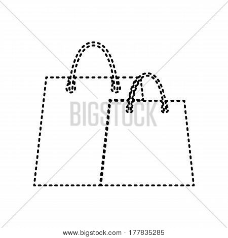 Shopping bags sign. Vector. Black dashed icon on white background. Isolated.