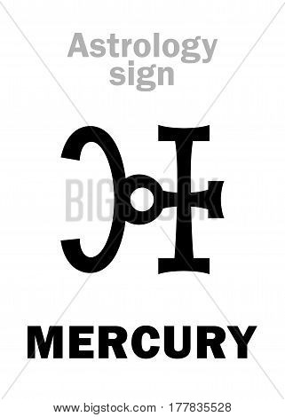Astrology Alphabet: MERCURY, minor planet. Hieroglyphics character sign (qabbalistic symbol)