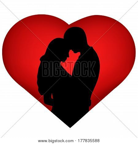 The black silhouette of couple on background of the heart. Valentine's Day. The bride and groom. Vector illustration.