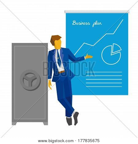 Businessman  Near The Safe Shows Poster With Business Plan