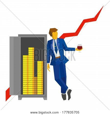 Businessman With Wineglass Stands Near The Safe With Money
