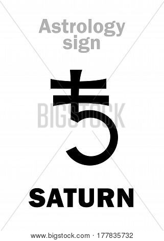 Astrology Alphabet: SATURN, classic major planet. Hieroglyphics character sign (ancient symbol).