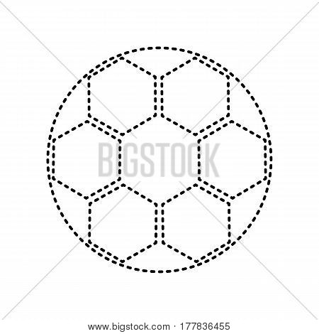 Soccer ball sign. Vector. Black dashed icon on white background. Isolated.