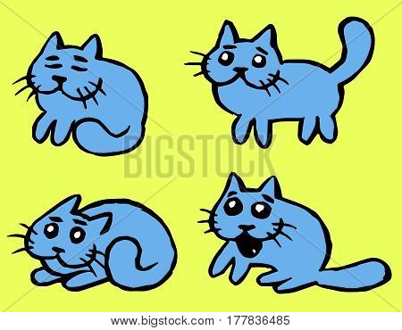 Blue Cats Emoticons Set. Funny Cartoon Cool Character. Contour Freehand Digital Drawing Cute Pet. Light Green Color Background. Cheerful Kitten Collection for Web Icons and Shirt. Isolated Vector Illustration.