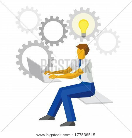 Businessman Working On A Computer With Idea Bulb