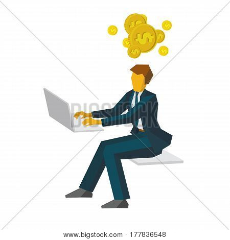 Businessman Working On A Computer And Thinking About Money