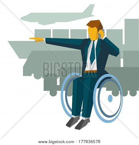 Disabled Businessman In Wheelchair Show The Way