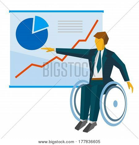 Disabled Businessman In Wheelchair Show The Poster With Charts