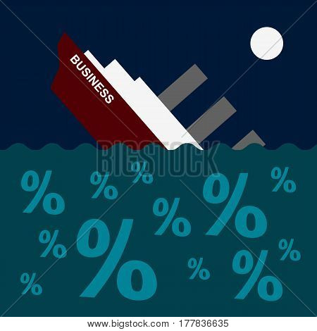 The ship is sinking on the sea of percent signs. Business concept - boat drowning in debt and loans. Vector clip art.